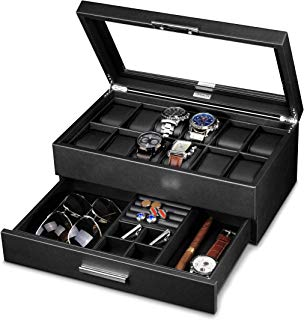 Lifomenz Co Leather Watch Box with Drawer Adjustable Tray for Men Watch Jewelry Box Organizer,Watch Display Case Catchall Tray for Men Accessories Organizer,Watch Storage with Large Watch Holder