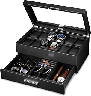 leather watch box with drawer