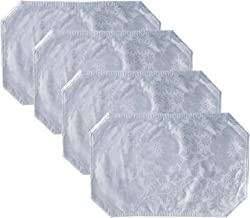 Queen Anne Damask Print Vinyl Reversible Placemat Set- Set of 4, White