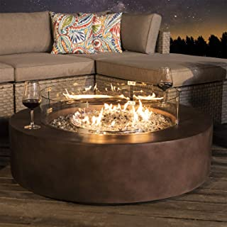 COSIEST Outdoor Propane Fire Pit Coffee Table w Dark Bronze 42-inch Round Base Patio Heater, 50,000 BTU Stainless Steel Burner, Wind Guard, Free Lava Rocks, Waterproof Cover