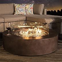 COSIEST Outdoor Propane Fire Pit Coffee Table w Dark Bronze 42-inch Round Base Patio Heater, 50,000 BTU Stainless Steel Burner, Wind Guard, Free Lava Rocks, Waterproof Cover