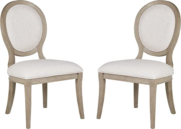Stone Beam Crawford Farmhouse Wood Dining Room Round Back Kitchen Chair 38 75 Inch Height Set Of 2 Grey