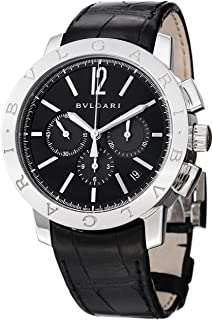 Bvlgari Bvlgari Chronographe Mens Automatic Black Leather Strap Watch BB41BSLDCH