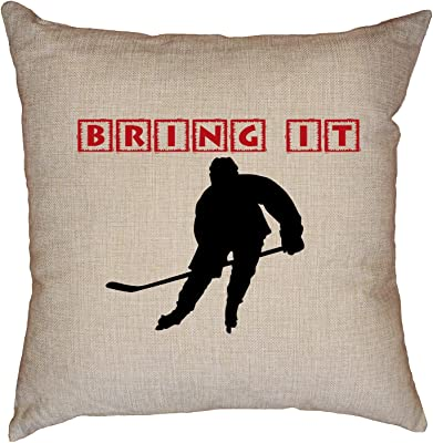 Amazon Com Hollywood Thread Got Ice Cool Hockey Player Graphic Decorative Linen Throw Cushion Pillow Case With Insert Home Kitchen