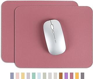 YSAGiマウスパッド、滑り止め/防水PVCレザー、コンピューターマウスパット、極めて薄い (二枚)(四角型, 茜色)