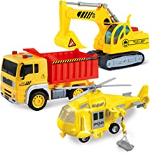 JOYIN 3 in 1 Friction Powered City Construction Vehicle Car Set Including Helicopter, Excavator, and Construction Truck, with Lights and Sounds / Sirens