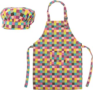 Opromo Colorful Cotton Canvas Kids Aprons and Hat Set, Party Favors(S-XXL)