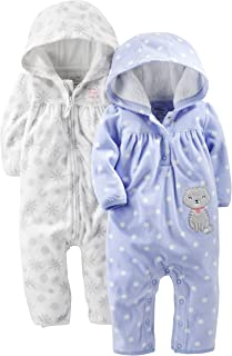 Simple Joys by Carter's Baby Girls' 2-Pack Fleece Hooded Jumpsuits