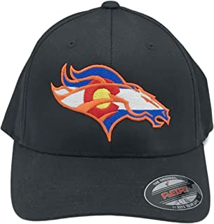 Colorado Flag Bronco Hat 6277 Fitted Curved Bill Flexfit Hat