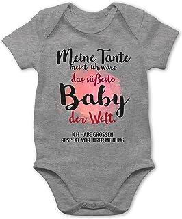Shirtracer Strampler Motive - Meine Tante Meint, ich wäre das süßeste Baby der Welt. - Baby Body Kurzarm für Jungen und Mädchen