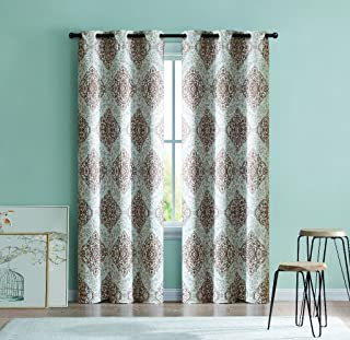 2 Blackout Room Darkening Window Curtains Brown Taupe Medallion Grommet Panel Pair Drapes, 84-in.