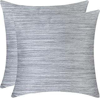 The White Petals Silver Gray Cushion Covers - Luxurious, Elegant & Decorative (18x18 inch, Pack of 2)