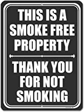 Honey Dew Gifts No Smoking Signs, This is a Smoke Free Property 9 inch by 12 inch Metal Aluminum No Smoking Signs for Business, Made in USA