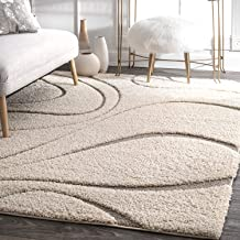 Arsh Fabs Collection Modern Shaggy Carpets and Rugs for Hall Offices Kitchens Bedroom Living Room and Cabins (Ivory, 4x6 feet)
