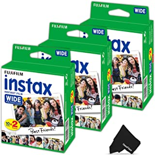 FujiFilm Instax Wide Instant Film 3 Pack (3 x 20) Total of 60 Photo Sheets - Compatible with FujiFilm Instax Wide 300 210 and 200 Instant Cameras (60 Sheets)