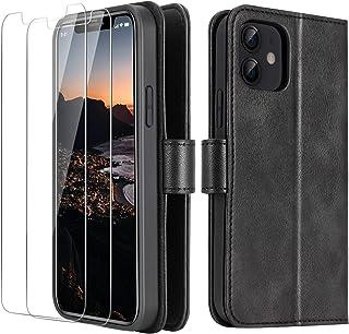 THREEKEY - Funda tipo cartera compatible con iPhone 12/iPhone 12 Pro, ranura para tarjetas de bloqueo RFID, TPU y piel sin...