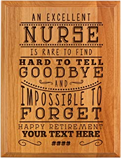 Personalized Retirement Plaque Excellent Nurse Retirement Gifts for Women Nurse Retirement Party 7x9 Oak Wood Custom Engraved Plaque Wood