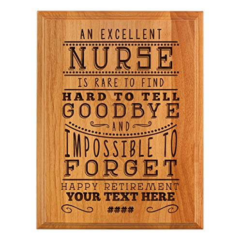 Personalized Retirement Plaque Excellent Nurse Retirement Gifts Women Nurse Retirement Party 7x9 Oak Wood Custom Engraved
