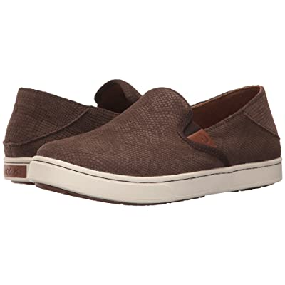 OluKai Pehuea Leather (Dark Java Honu/Dark Java) Women