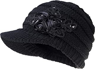 YSense Womens Hats Winter Beanie with Brim Warm Cable Knit Newsboy Cap Visor with Sequined Flower