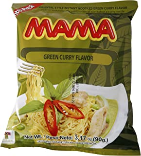 Mama Ramen Instant Noodles Green Curry Flavor (90g - 3.17oz) - Jumbo Pack of 20
