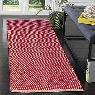 The Home Talk Handmade Jute Cotton Chevron Area Rug Door mat Kitchen Mat Indoor/Outdoor Rug (28x56 INCH, Red)