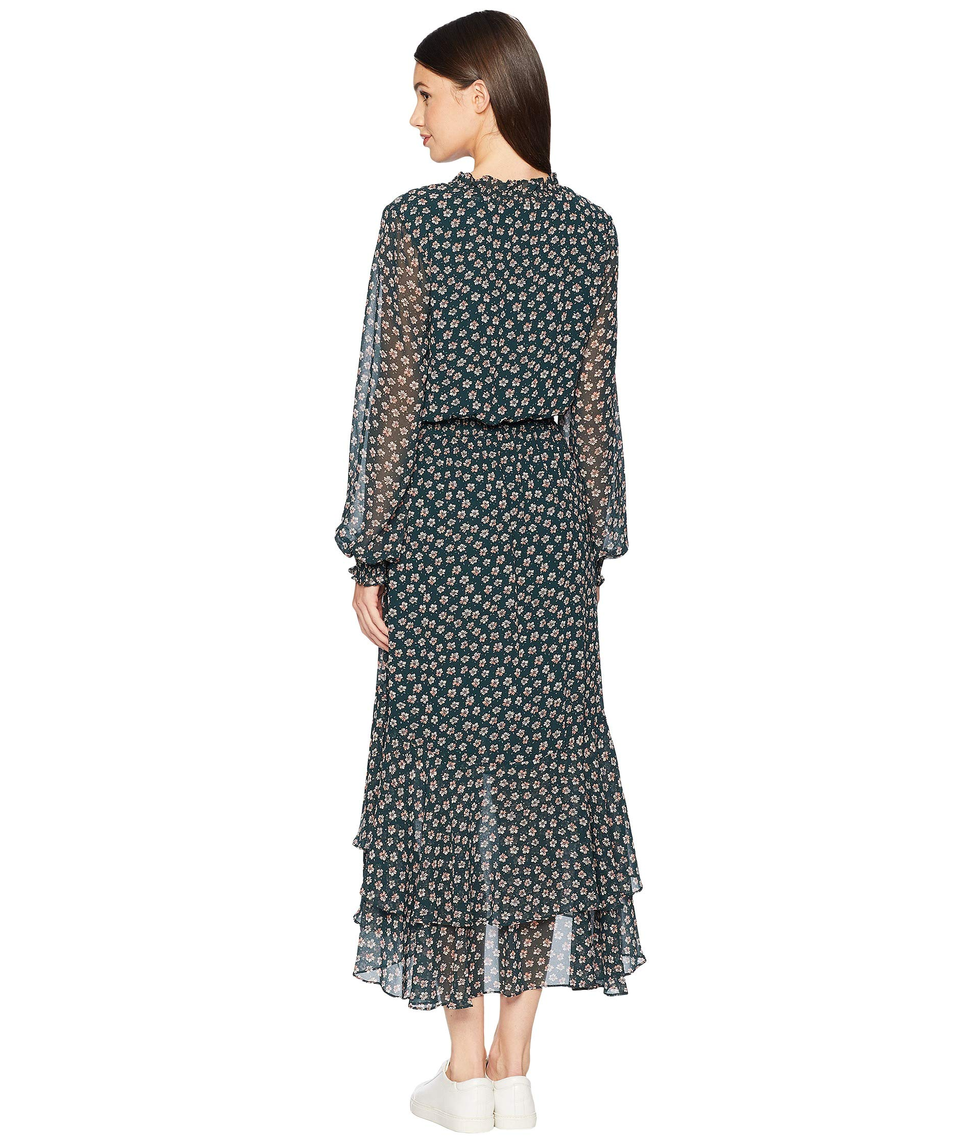 1 Attire low Sleeve Long High state Ditsy Dress Neck Mock Pine PI4rIq6