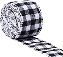 URATOT White and Black Plaid Burlap Ribbon Gingham Christmas Wrapping Ribbon Wired Plaid Ribbon for Crafts Decoration, Floral Bows Craft, 236 by 1.96 Inches