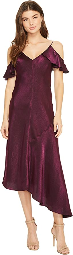 Donna Morgan Cold Shoulder Spaghetti Strap Shimmer Slip Dress