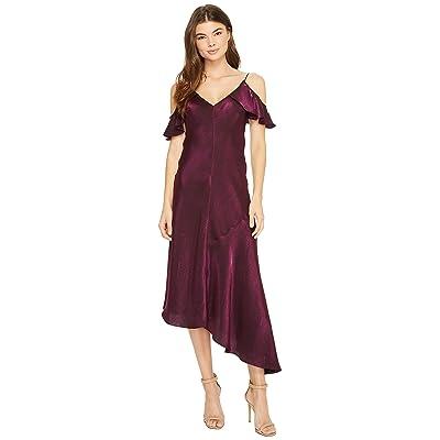 Donna Morgan Cold Shoulder Spaghetti Strap Shimmer Slip Dress (Amethyst) Women