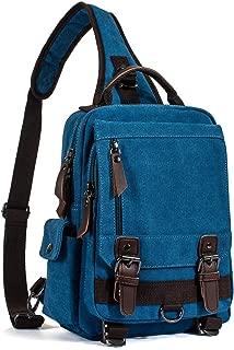 LITTLE TREE-AU Retro Messenger Bag Canvas Shoulder Backpack Travel Rucksack Sling Bag (Sky Blue)