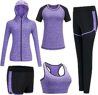BOTRE Trainingspak voor dames, yogakleding, pak van 5 sportpak, joggingpak, gym, fitness, loopkleding, sportswear, sport, ...