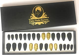 False nails Factory - Glitter Collection - False Nails Matte/Glossy color with Glitter deco (Matte Black + Gold Glitter