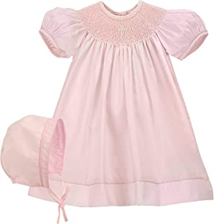 white smocked dress with pink crosses