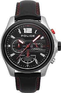 Police Denver Chronograph Silver Case, Black Dial And Black Leather Watch For Men - PL 15403JSTB-02