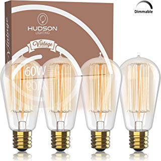 Vintage Incandescent Edison Bulb Set: 60 Watt, 2100K Warm White Edison Light Bulbs - E26 Base - 230 Lumens - Clear Glass - Dimmable Antique Exposed Filament - ST58 Decorative Lightbulbs - 4 Pack