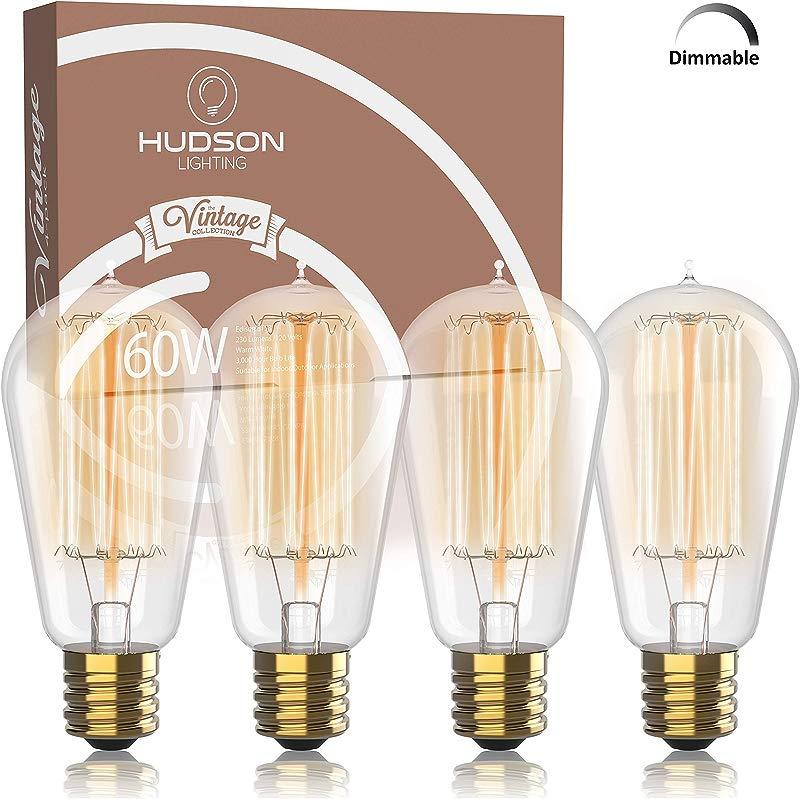 Vintage Incandescent Edison Bulb Set 60 Watt 2100K Warm White Edison Light Bulbs E26 Base 230 Lumens Clear Glass Dimmable Antique Exposed Filament ST58 Decorative Lightbulbs 4 Pack