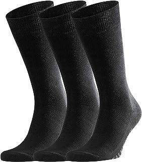 FALKE Socken Family 3-Pack Baumwolle Herren schwarz verstärkte Herrensocken ohne Muster atmungsaktiv dünn und einfarbig im Multipack 3 Paar