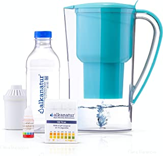 Alkanatur Alkaline Water Pitcher Filters Fluorides, Chlorine, Sodium, etc - Alkalized and Ionized tap Water - High pH Alkalizer PH of 9.5, Most Certified Pitcher FDA, CE, RoHS, SGS Approved and More