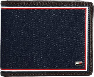 Tommy Hilfiger Men's Omarion Leather and Denim Passcase Bifold Wallet