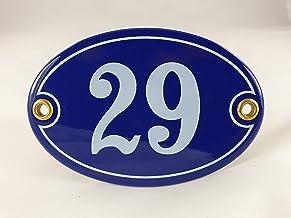 Emaille huisnummer bord nr. 29, ovaal, blauw-wit Nr. 29 Blau-Weiß