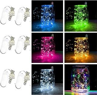 Battery Powered Mason Jar Lantern Lights,20 Led String Fairy Star Firefly Jar Lights,for Mason Jar Wine Bottle Home Patio Garden Wedding Christmas Moon Table Decor Lights (6 Colors)