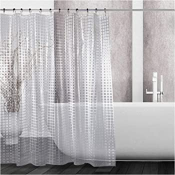Hiveseen Cortina de ducha para baño y cubo de agua 3D transparente con 12 ojales y ganchos de plástico para ducha o bañera en el hogar Claro: Amazon.es: Hogar