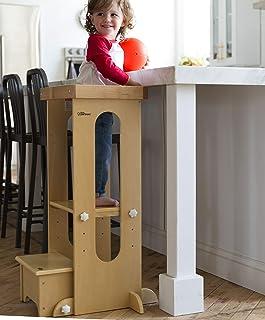 Little Partners Explora n Tienda de Aprendizaje de los niños de la Torre de Altura Ajustable de Cocina Taburete de Paso para los niños pequeños Natural