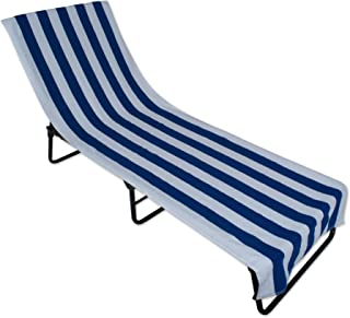 J&M Home Fashions Stripe Beach Lounge Chair Towel with Fitted Top Pocket, 26x82, Blue