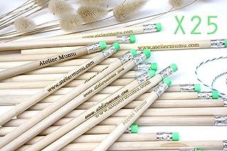 Matite di legno x25 con testo personalizzato, regalo per gli ospiti per matrimonio, gomma verde