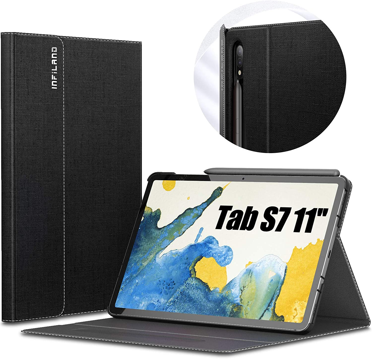 INFILAND Galaxy Tab S7 Case, Multiple Angle Stand Cover Compatible with Samsung Galaxy Tab S7 11-inch SM-T870/T875/T876 2020 Release Tablet [Auto Wake/Sleep], Black