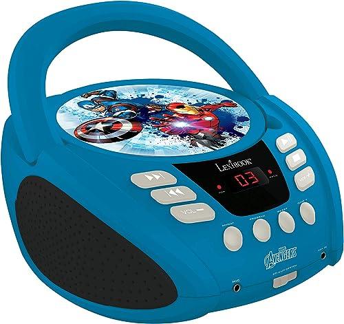LEXIBOOK Marvel Avengers Iron Man Radio lecteur CD, Prise micro, Entrée line-in, Pile ou Secteur, Bleu/Noir, RCD108AV_10