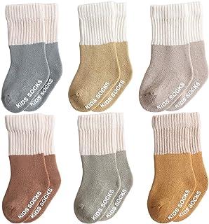 Belsmi, Paquete de 6 calcetines para bebé Aniti Slip hasta la rodilla, gruesos y cálidos, calcetines de invierno