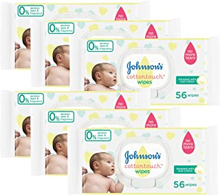 Johnson's Cotton Touch Baby Wipes for Sensitive Skin, 56 Wipes (Pack of 6)